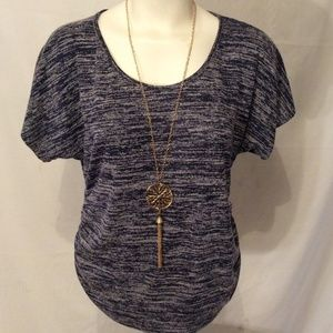 NEW Blue Gray Ruched Waist Knit Top Necklace SMALL